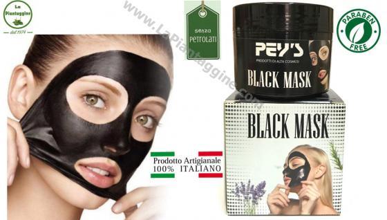 Maschere viso e Scrub BLACK MASK maschera nera al carbone SENZA PARABENI E PETROLATI 100% naturale e ITALIANA